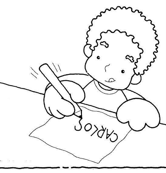 Niños escribiendo para colorear - Imagui